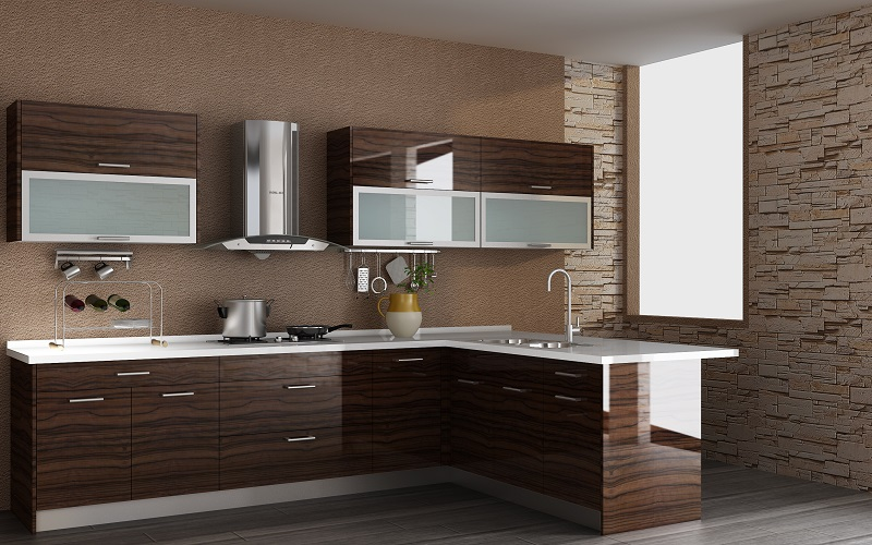 Modern Kitchen UV finished cabinet GoldenHome Cabinetry Affordable Luxury
